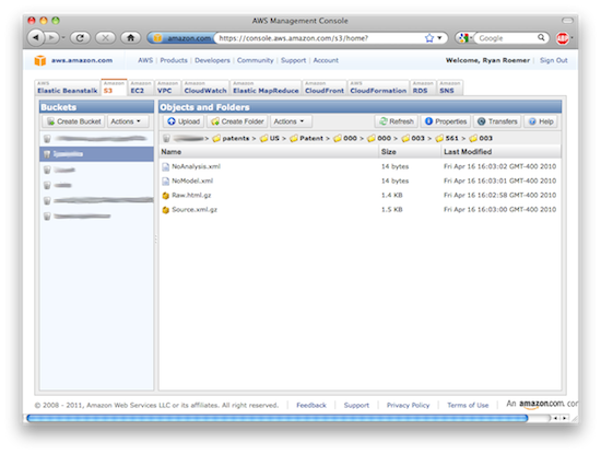AWS web dashboard
