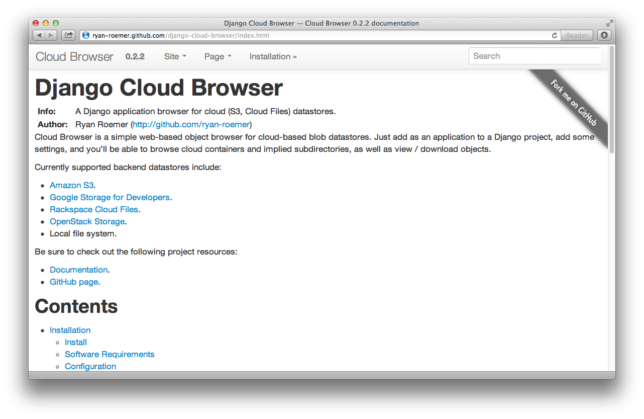 Django Cloud Browser