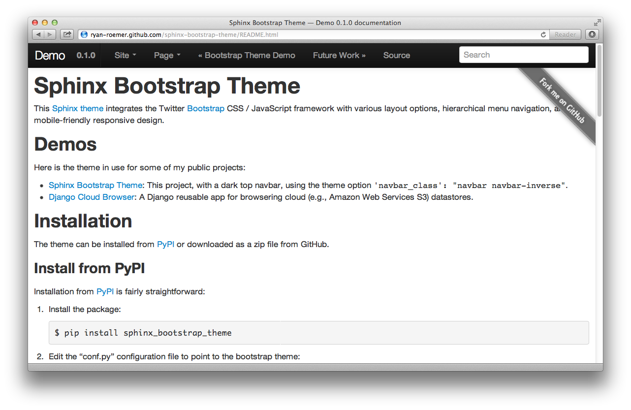 Sphinx Bootstrap Theme Desktop View